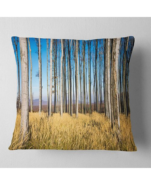 "Design Art Designart Clear Sky And Bush In Thick Forest Modern Forest Throw Pillow - 16"" X 16"""