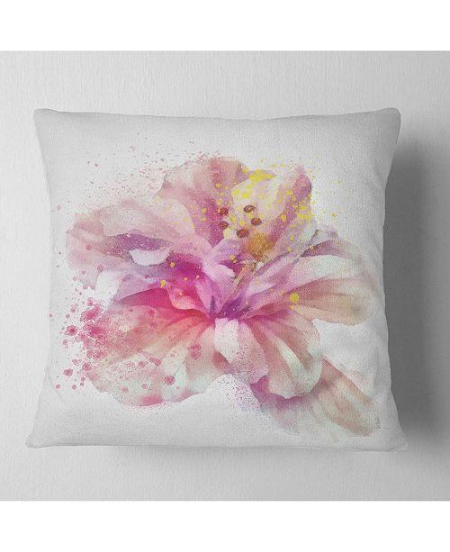 """Design Art Designart Beautiful Pink Flower Watercolor Floral Throw Pillow - 16"""" X 16"""""""