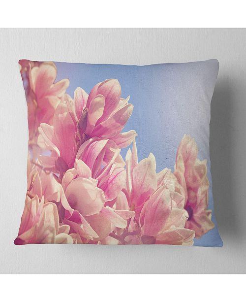 "Design Art Designart Magnolia Flowers On Sky Background Floral Throw Pillow - 16"" X 16"""