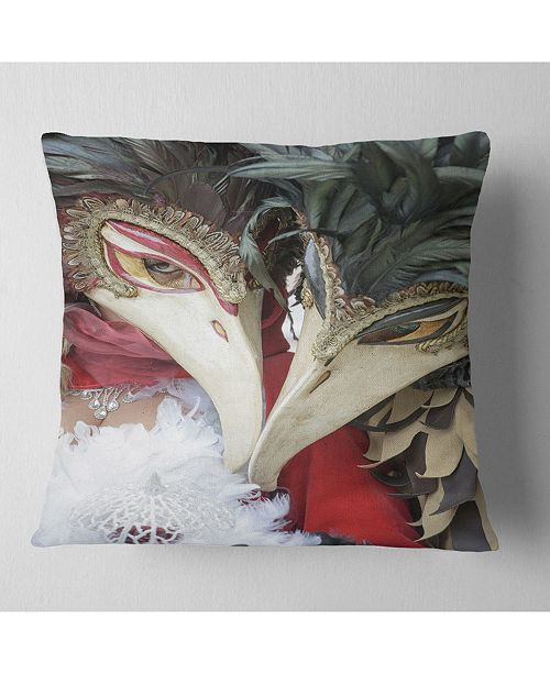 "Design Art Designart Carnival In Venice In Italy Floral Throw Pillow - 18"" X 18"""