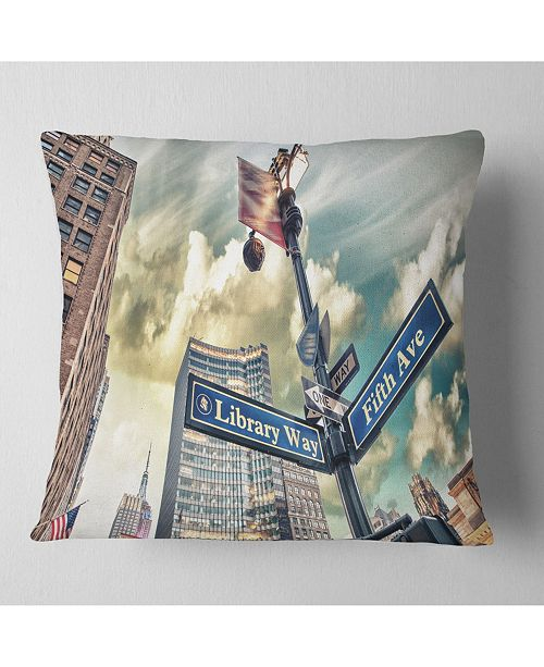 """Design Art Designart Library Way And 5Th Avenue Street Signs Modern Cityscape Throw Pillow - 18"""" X 18"""""""