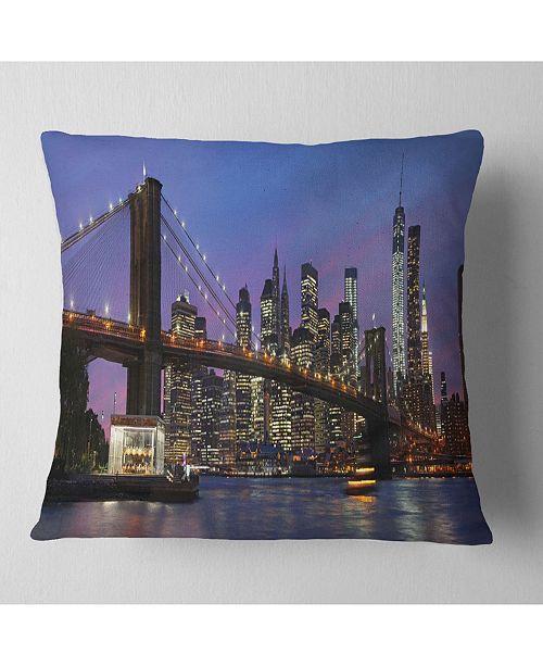 "Design Art Designart Brooklyn Bridge And Manhattan At Sunset Throw Pillow - 18"" X 18"""