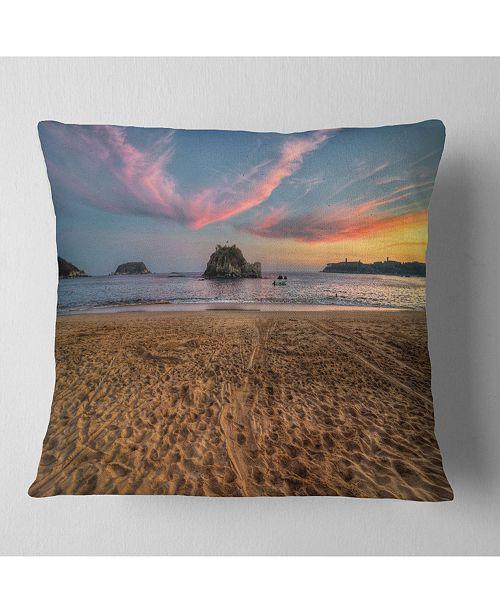 "Design Art Designart Trodden Sand On Beach At Sunset Seashore Throw Pillow - 16"" X 16"""