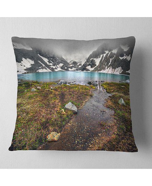 "Design Art Designart Cloudy Sky Above Mountain Lake Landscape Printed Throw Pillow - 16"" X 16"""