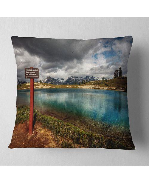 "Design Art Designart Azure Mountain Lake With Clouds Landscape Printed Throw Pillow - 16"" X 16"""