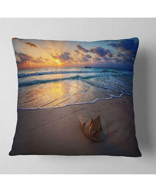 """Design Art Designart Quiet Seashore During Sunset Seashore Throw Pillow - 18"""" X 18"""""""