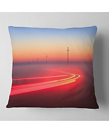 "Designart Barcelona Street Traffic Trail Throw Pillow - 26"" X 26"""