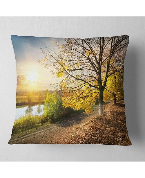"""Design Art Designart Beautiful Road By The River Landscape Printed Throw Pillow - 18"""" X 18"""""""