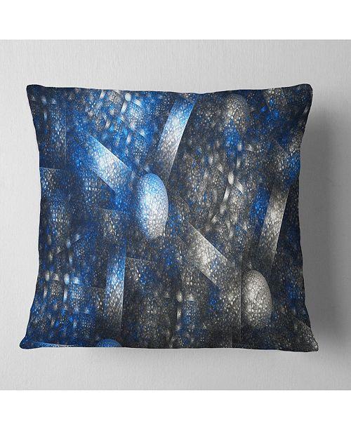 """Design Art Designart Crystal Cell Dark Blue Steel Texture Abstract Throw Pillow - 18"""" X 18"""""""