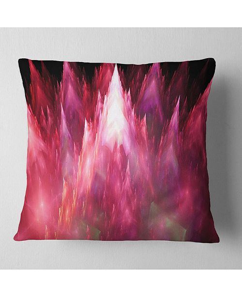 "Design Art Designart Red Fractal Crystals Design Abstract Throw Pillow - 18"" X 18"""