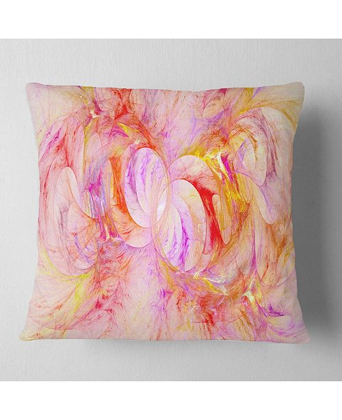 "Design Art Designart Red Yellow Fractal Glass Texture Abstract Throw Pillow - 16"" X 16"""