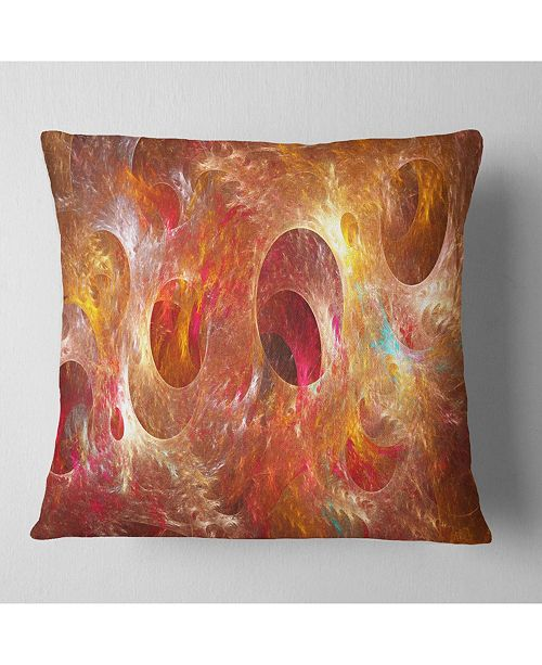 "Design Art Designart Red Yellow Circles Texture Abstract Throw Pillow - 18"" X 18"""