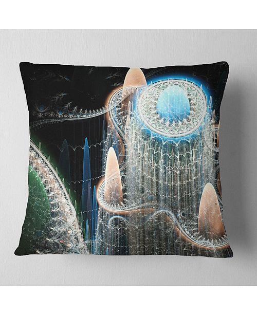 """Design Art Designart Blue Fractal Infinite World Abstract Throw Pillow - 16"""" X 16"""""""