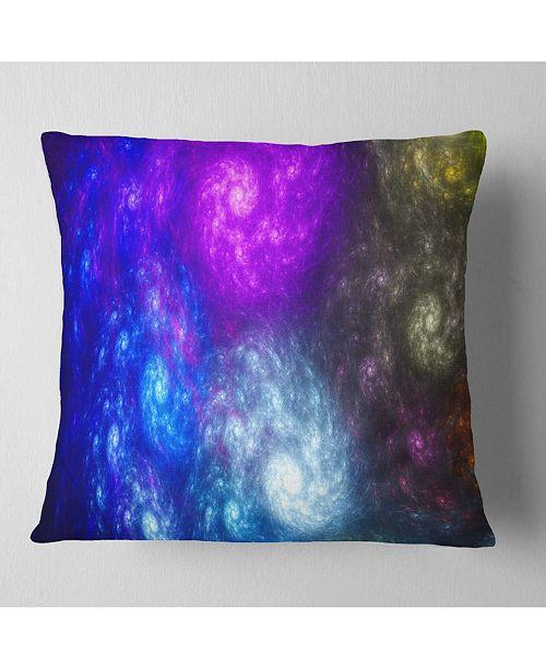 "Design Art Designart Colorful Fractal Rotating Galaxies Abstract Throw Pillow - 16"" X 16"""