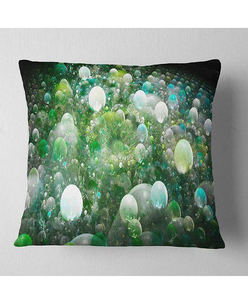 """Design Art Designart Green Fractal Molecule Pattern Abstract Throw Pillow - 18"""" X 18"""""""