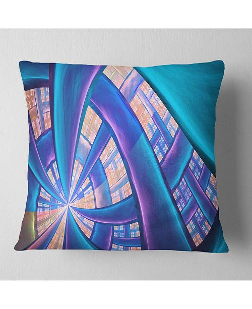 "Design Art Designart Blue Yellow Fractal Stained Glass Abstract Throw Pillow - 16"" X 16"""