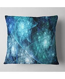 "Designart Blue Rotating Polyhedron Abstract Throw Pillow - 26"" X 26"""