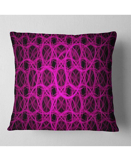 "Design Art Designart Pink Unusual Fractal Metal Grill Abstract Throw Pillow - 18"" X 18"""