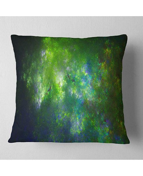 """Design Art Designart Green Fractal Sky With Blur Stars Abstract Throw Pillow - 18"""" X 18"""""""