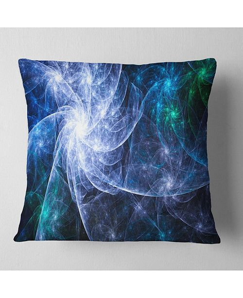 "Design Art Designart Blue Fractal Star Pattern Abstract Throw Pillow - 18"" X 18"""