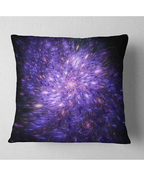 "Design Art Designart Purple Fireworks On Black Abstract Throw Pillow - 18"" X 18"""