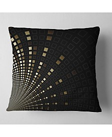 "Designart Gold Square Pixel Mosaic On Black Abstract Throw Pillow - 18"" X 18"""