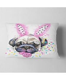 "Designart Cute Dog With Pink Feather Hat Contemporary Animal Throw Pillow - 12"" X 20"""