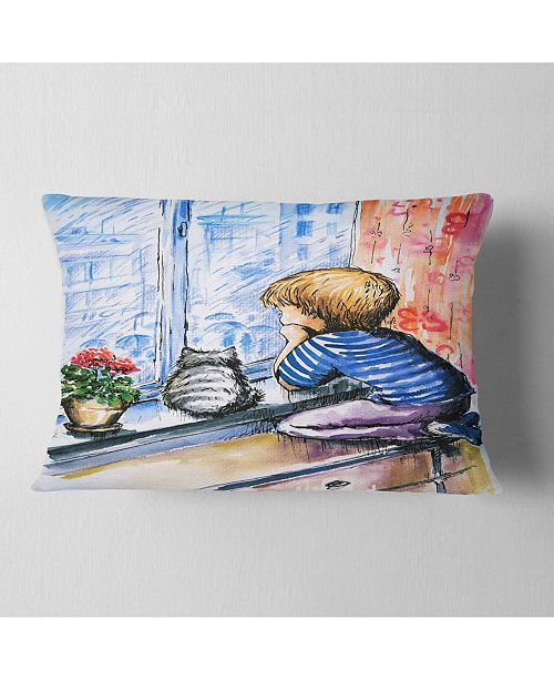 "Design Art Designart Little Boy And Cat Watching City Modern Portrait Throw Pillow - 12"" X 20"""
