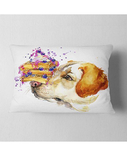 """Design Art Designart Cute Labrador Dog Watercolor Animal Throw Pillow - 12"""" X 20"""""""