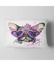 "Designart Cute Dog With Pink Glasses Animal Throw Pillow - 12"" X 20"""