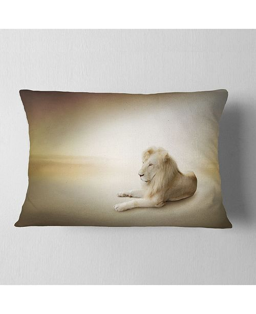 "Design Art Designart Relaxing King Of Animals Animal Throw Pillow - 12"" X 20"""