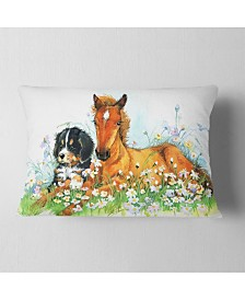 "Designart Relaxing Brown Cute Horse Animal Throw Pillow - 12"" X 20"""