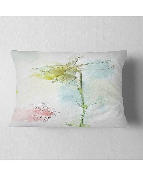 """Design Art Designart Bellflower Sketch And Butterfly Floral Throw Pillow - 12"""" X 20"""""""