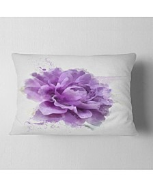"Designart Purple Rose Watercolor Illustration Floral Throw Pillow - 12"" X 20"""