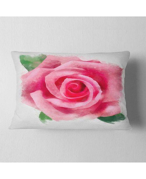 "Design Art Designart Big Pink Rose Flower With Leaves Floral Throw Pillow - 12"" X 20"""