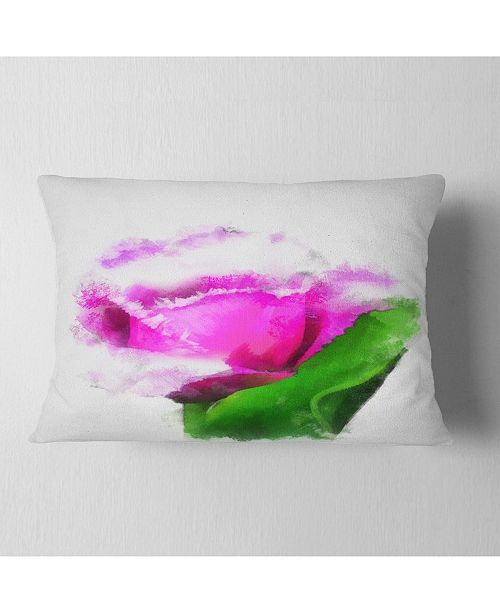 """Design Art Designart Pink Rose Watercolor With Leaves Floral Throw Pillow - 12"""" X 20"""""""
