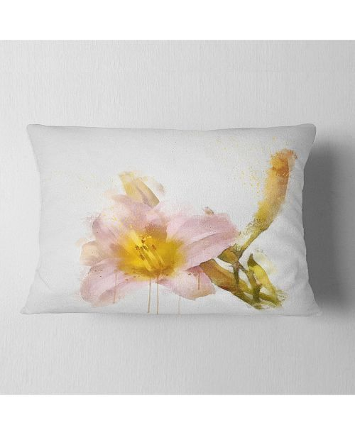"""Design Art Designart Watercolor Lily With Color Splashes Floral Throw Pillow - 12"""" X 20"""""""
