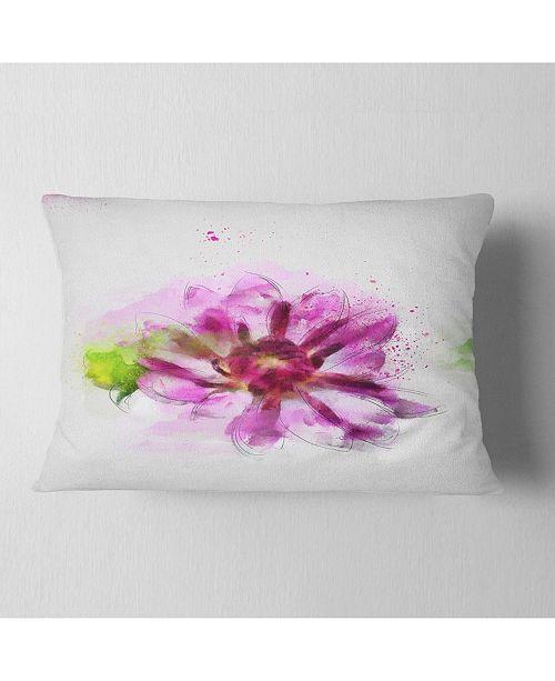 "Design Art Designart Purple Flower With Green Leaves Floral Throw Pillow - 12"" X 20"""