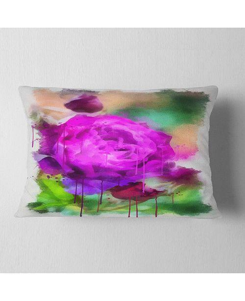 "Design Art Designart Purple Watercolor Rose Painting Floral Throw Pillow - 12"" X 20"""