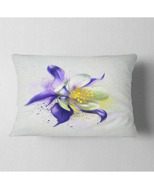 "Design Art Designart Purple Flower With White Petals Floral Throw Pillow - 12"" X 20"""