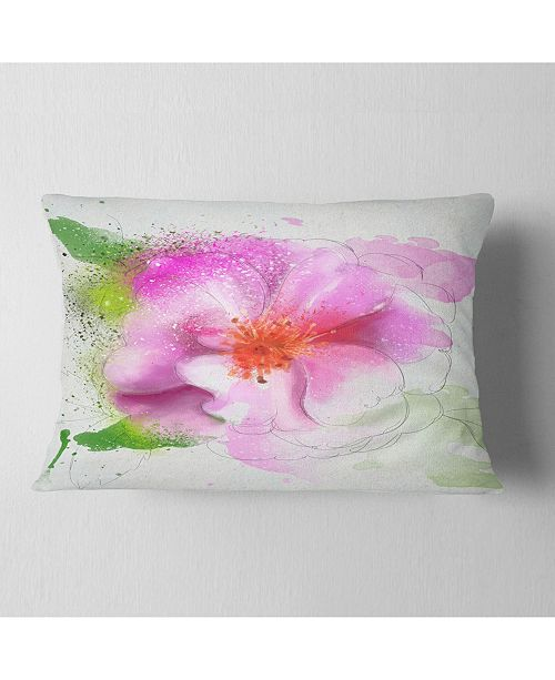 "Design Art Designart Blooming Pink Flower Watercolor Flowers Throw Pillowwork - 12"" X 20"""
