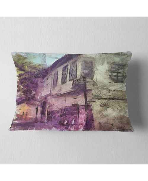 "Design Art Designart Old City Street Watercolor Sketch Cityscape Throw Pillow - 12"" X 20"""