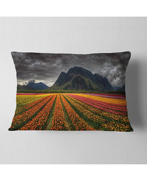 "Design Art Designart Beautiful Colored Tulips Panorama Landscape Printed Throw Pillow - 12"" X 20"""
