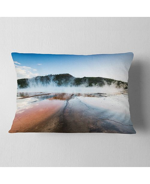 "Design Art Designart Grand Prismatic Spring At Sunset Seashore Throw Pillow - 12"" X 20"""
