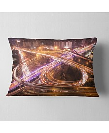 "Designart Beautiful Shanghai Traffic Throw Pillow - 12"" X 20"""