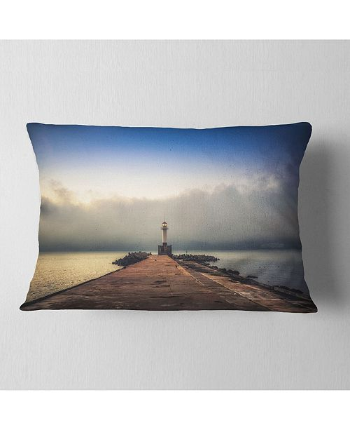 "Design Art Designart Lighthouse On Coast And Cloudy Sky Modern Throw Pillow - 12"" X 20"""