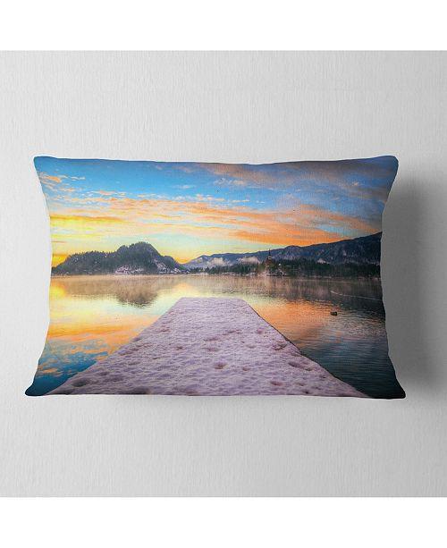 "Design Art Designart Bled With Lake In Winter Slovenia Bridge Throw Pillow - 12"" X 20"""