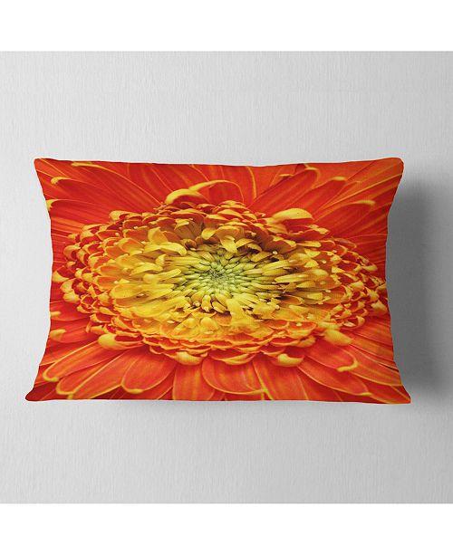 "Design Art Designart Beautiful Gerbera Flower In Brig Floral Throw Pillow - 12"" X 20"""