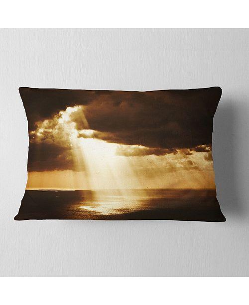 "Design Art Designart Dramatic Sunset With Sunrays Landscape Printed Throw Pillow - 12"" X 20"""