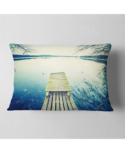"Design Art Designart Sunset Over Tranquil Lake Bridge Throw Pillow - 12"" X 20"""